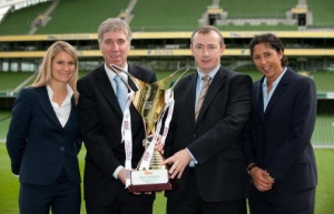 The launch of Bus Éireann Women's National League with John Delaney, Chief Executive, Martin Nolan Chief Executive of Bus Éireann, Steffi Jones, UEFA's Women' Football Development Ambassador and Emily Shaw, head of UEFA women's Football.