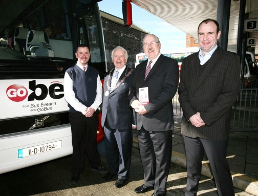 The Deputy Lord Mayor Cllr Jim Corr on his visit to the Bus Station in Parnell Place, Cork today presented a voucher to the 50,000 customer travelling with the GoBé service since it was introduced by Irish transport providers Bus Éireann and GoBus in September 2012.