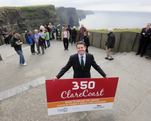 Minister Donohoe officially launches Bus Éireann's revised routes to Shannon Airport and the Clare Coast