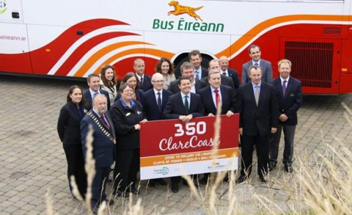 Minister Donohoe officially launches Bus Éireann's revised routes to Shannon Airport and the Clare coast.