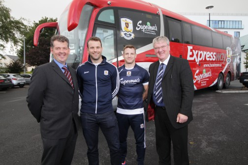 Brian Connolly, Regional Manager Galway with Galway Hurlers David Collins & Andy Smith and Supermac's Pat McDonagh
