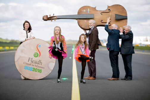At Fleadh Cheoil na hÉireann Inis were dancers Aimee and Zoe Keane with Mary Considine, actiing CEO Shannon Group [main sponsors], Frank Whelan,Vice Chairman Fleadh Executive Committee, Mícheál Ó Riabhaigh, Chairman Fleadh Cheoil Executive Committee and Pádraig O Dufaigh, National Treasure Comhaltas Ceoltóiri Éireann. Photograph by Eamon Ward